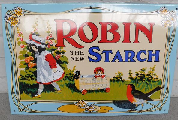 Enamel sign-reproduction by Garnier of London Robin The New Starch approx 21x13""