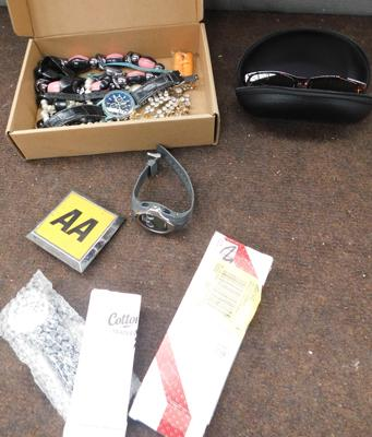 Box of costume jewellery, AA badge, watches etc