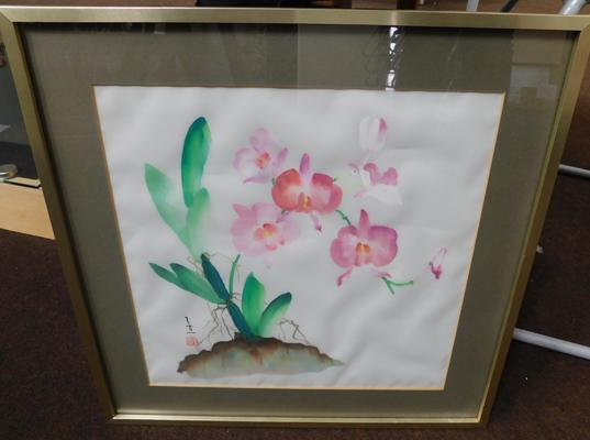 Japanese signed framed print on silk approx 17x17""