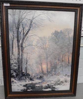 "Winter sunset by A Anderson-Lundby (b 1841)  Print with paint over the top . (approx 27x22"")"