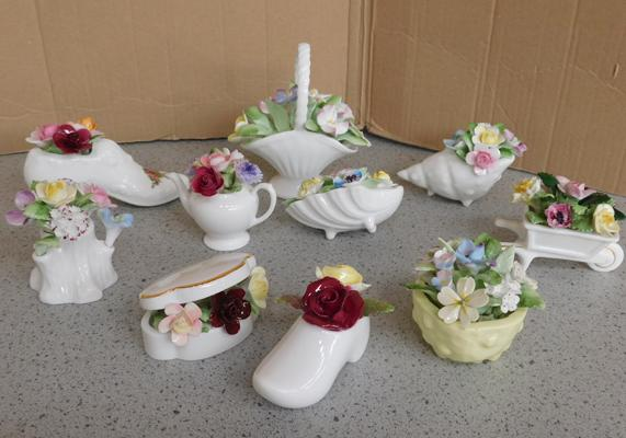 10x Named bone china floral baskets & ornament inc Royal Doulton, Coalport, Royal Albert etc