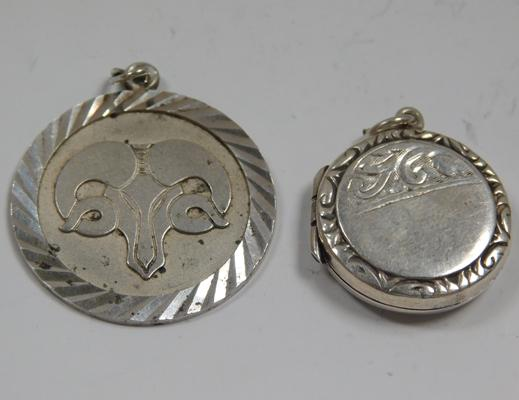 Vintage sterling silver locket & Aries ram pendant