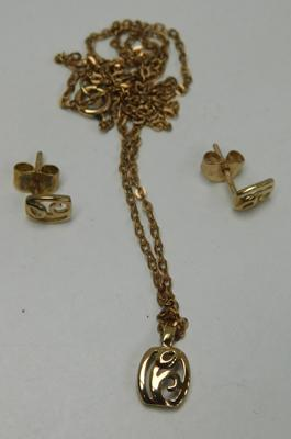 9ct Gold necklace & earring set
