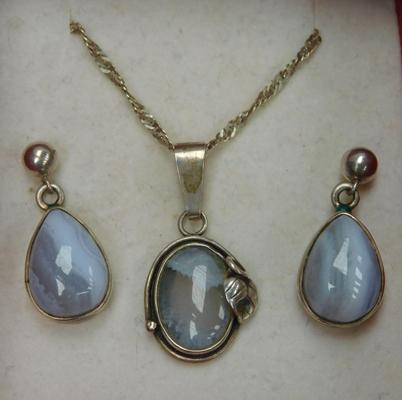 925 Silver lace agate necklace & earrings