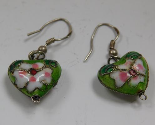 Unusual vintage silver enamel earrings