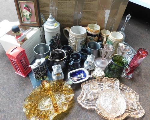 Assortment of collectables inc coloured glass, silver plate, steins etc