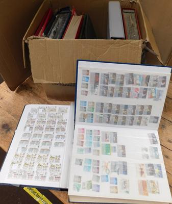 Full box of large stockbooks of stamps