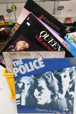 Box of approx 59 LPs inc Pink Floyd, Police etc