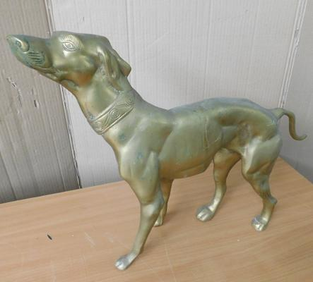 "Very large brass dog approx 15"" tall"