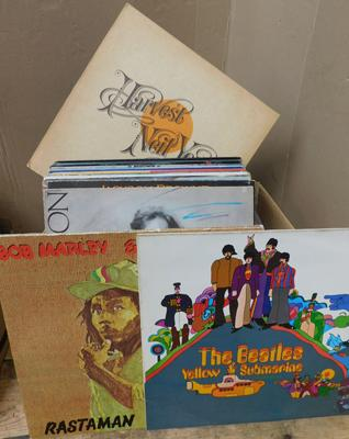 "Over 50 LPs & 12"" singles inc Beatles, Bob Marley, Neil Young, Beach Boys, Elvis etc"