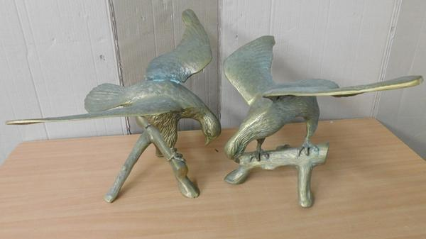 "Pair of very large brass eagles-damage to one wing on 1 bird-approx 16"" tall"