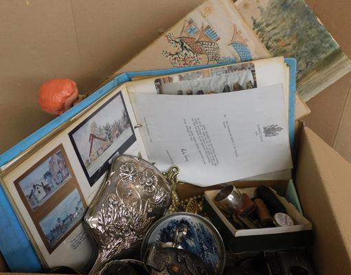 Collection of antique & vintage items inc hallmarked silver, hat pins, knives, watches + 1950s album of cards & letters inc from Clarence House & Canadian High Commissioner