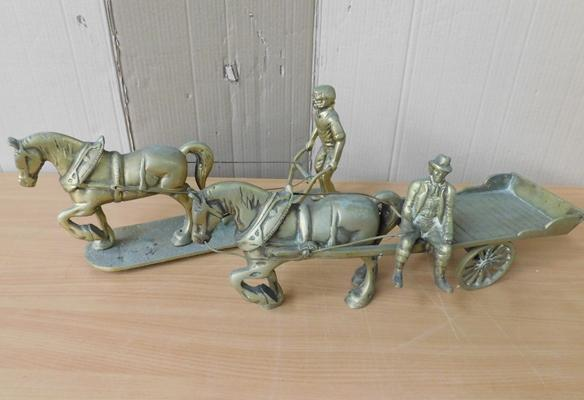 "Pair of large heavy working horse scenes approx 17"" in length each"