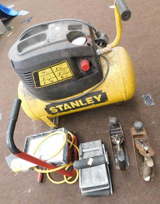 Stanley compressor+ 110v work light, 2 planes & glass lifter