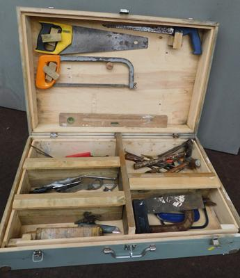 "Large wooden joiners toolbox approx 30x8x20"" + selection of tools"