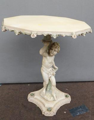 Vintage style cherub occasional table with cracked glaze finish