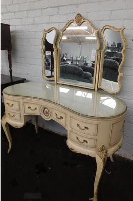 "Kidney shaped mirrored dressing table-Regency style Dimensions - W 49"" x H30"" table top x H60"" to mirror D24"""