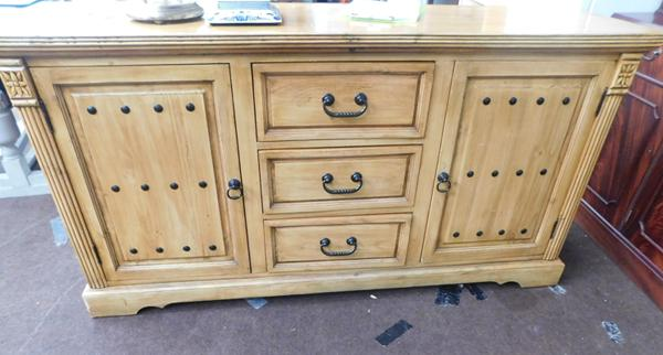 Large pine cabinet with metal stud effect Dimensions - W66 x H34 x D18""
