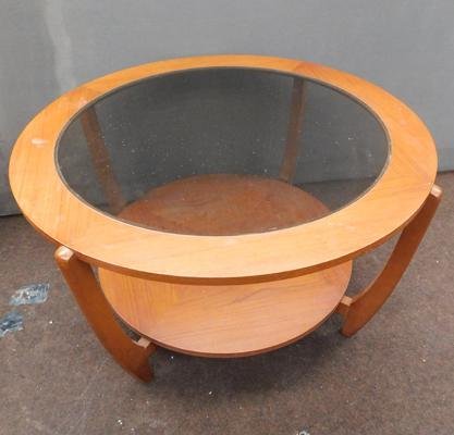 "Mid century circular glass topped table approx 30"" diameter"