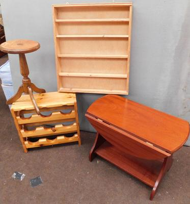 Selection of wooden tables, rack, shelves etc