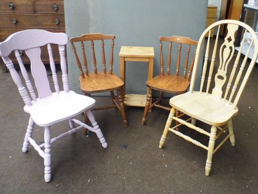 Selection of pine chairs etc