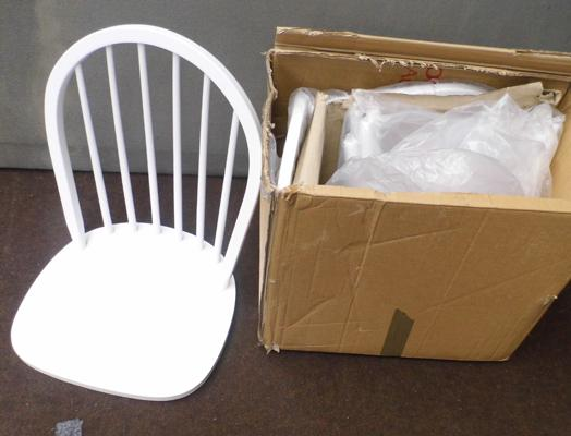 2x New white dining chairs (flat packed)