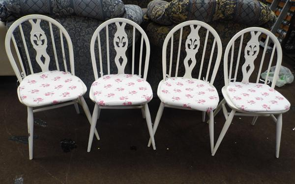 4x White dining chairs