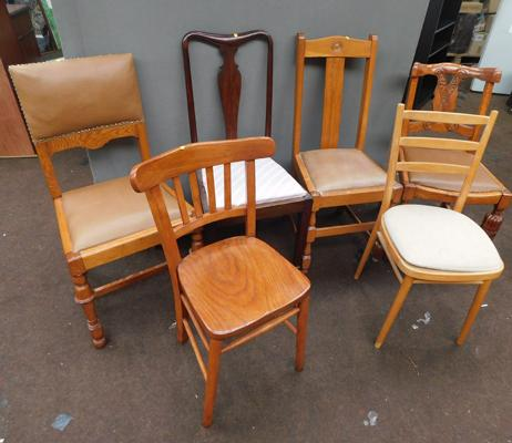 Six individual dining chairs, various styles &  sizes