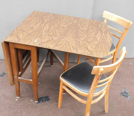 Mid-century drop leaf table + two chairs