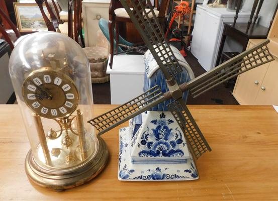 Delft style musical windmill + brass dome mantle clock
