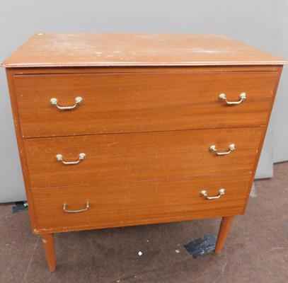 Three drawer wooden cabinet