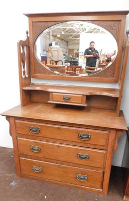 Vintage mirrored oak chest of drawers