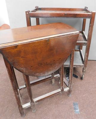 Vintage oak hostess trolley & drop leaf table