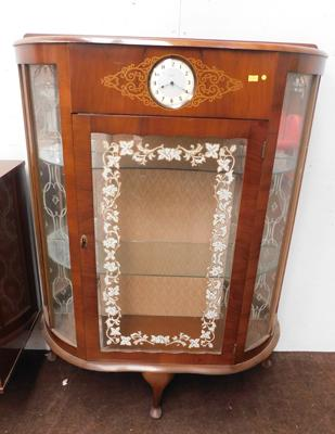 Glass fronted china cabinet with inbuilt Smiths clock