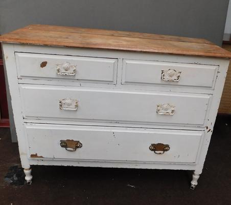 Vintage two over two chest of drawers, for restoration