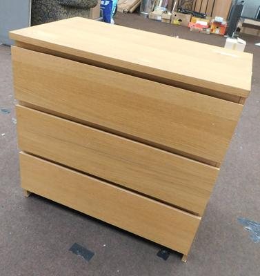 3 Drawer chest of bedroom drawers
