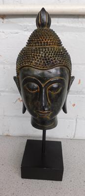 "Large Buddha head on plinth approx 15"" tall"