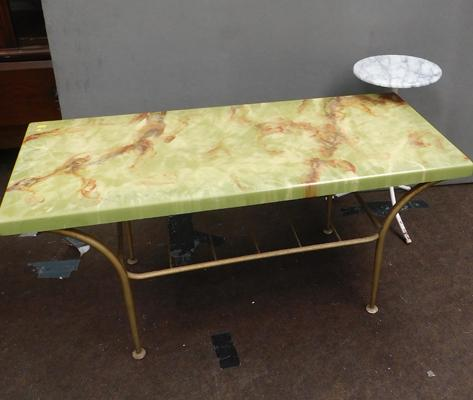 Two onyx/marble style coffee/occasional tables