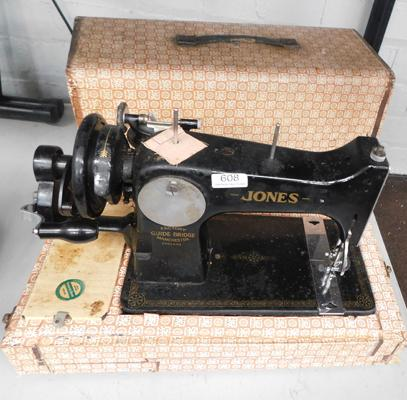 Vintage cased Jones sewing machine