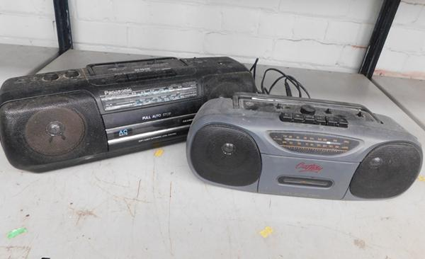 Two vintage radio cassette players