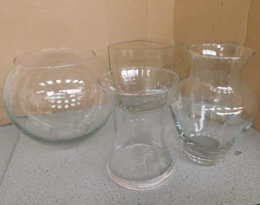 Assortment of large contemporary glass vases