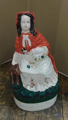 Antique large Staffordshire flatback of lady with fox c1870
