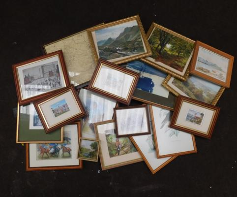 Large collection of assorted framed prints