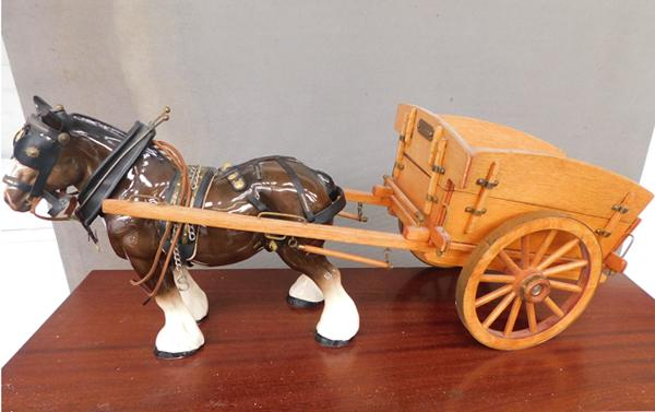 Large ceramic Melbaware shire horse & wooden cart (damage to ear)