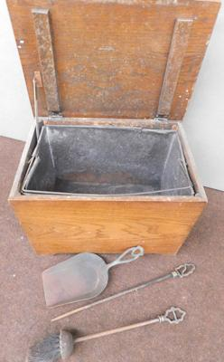 Wooden oak coal bucket with metal insert & fireplace set