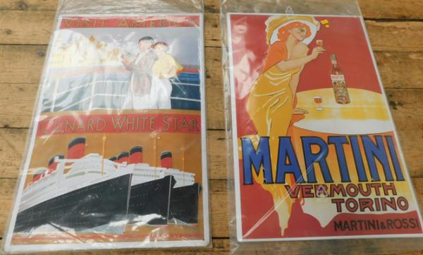 Pair of Art Deco style repro advert signs-Cunard White wine & Martini approx 15x23""