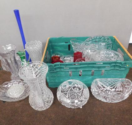 Large box of glassware inc coloured glass & cut glass etc