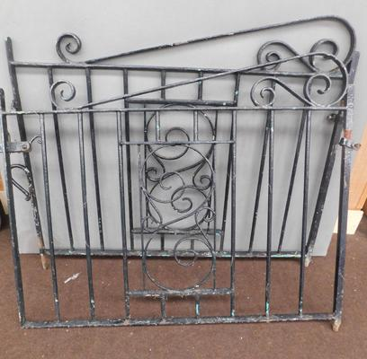 Pair of wrought iron garden gates, each approx. 46 inches wide & 40 inches tall