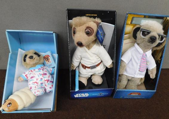 3 x Meerkats, boxed & some with certificates