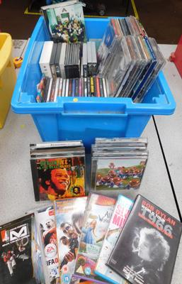 Box of mixed CDs (approx 100) + DVDs